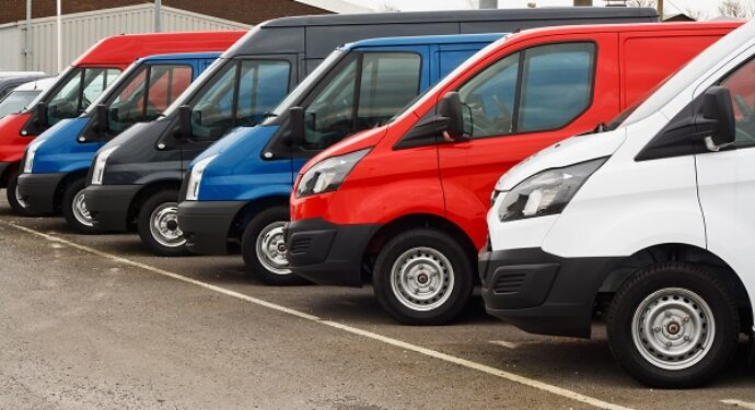 Row of fleet vehicles for fleet management